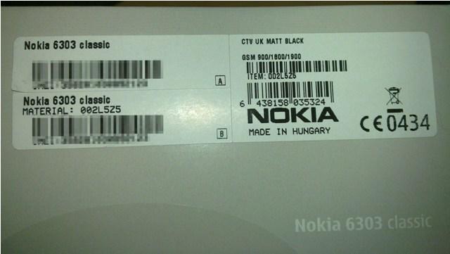 Nokia 6303 Box Label