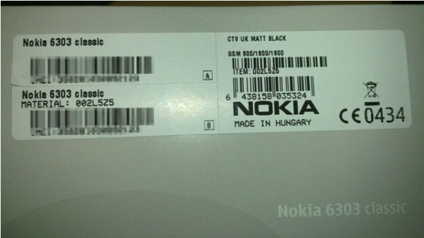 Nokia 6303 Box Label