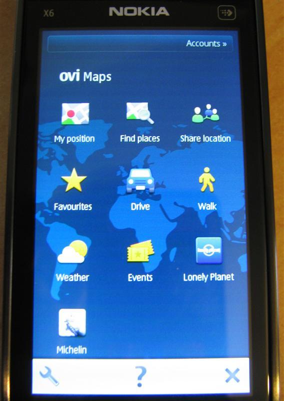 Ovi Maps - Menu