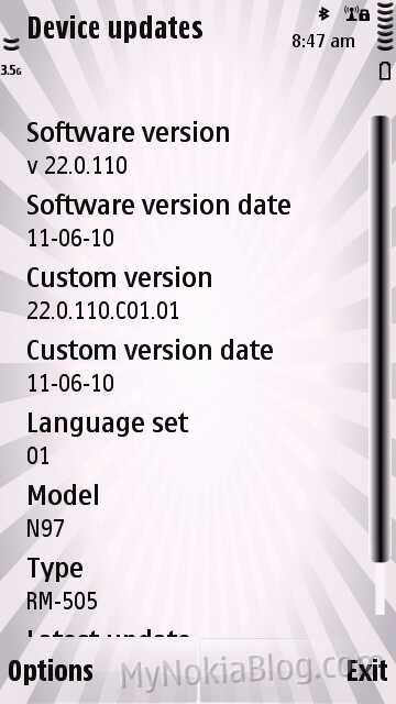 New firmware update Nokia N97 to V22 0 110 (updated with