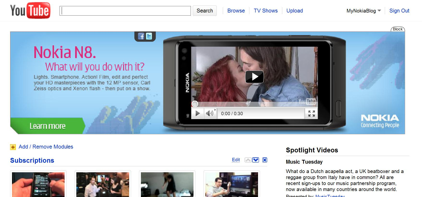 Big Nokia N8 ad on YouTube front page : My Nokia Blog - 200