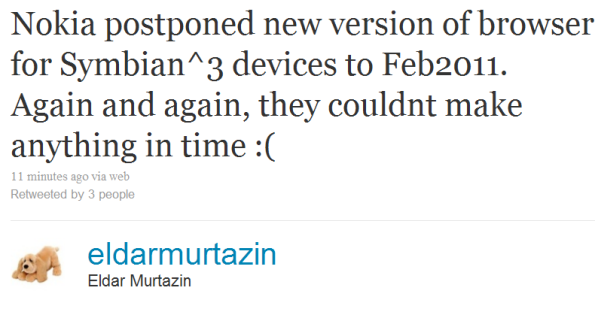 EldarMurtazin says New Symbian^3 Browser delayed until Feb